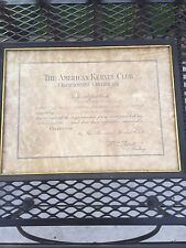 Vintage 1961 championship certificate The American Kennel Club framed with seal