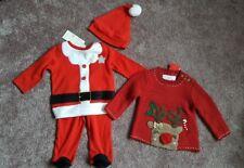Bebé puente paquete de Navidad y el conjunto de 3 piezas Santa bebé hasta 3 meses Nuevo
