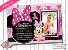 DIGITAL PINK & Black MINNIE MOUSE 1st Birthday Party Invitation PRINT YOUR OWN