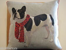 "18"" BOSTON TERRIER Woven French Tapestry Cushion 45cm Dog France Cotton"