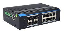 Industrial 8-Port Managed Gigabit Ethernet Switch with 4 Fiber SFP Slot Din Rail