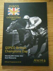 2012 ASCOT ''CHAMPIONS DAY'' RACECARD - FRANKEL LAST RACE