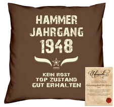 Kissen Urkunde Hammer Jahrgang 1948 Geschenk Geburtstagsgeschenk  Fb: braun