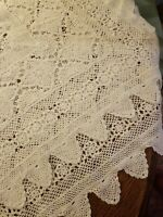 Beautiful Antique Crocheted Tablecloth 42x56 White