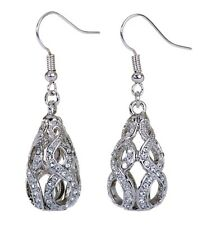 Swarovski Elements Crystal Drop Abstract Earrings Rhodium Plated New 7146b
