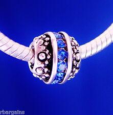 Blue Ball September Birthstone Spacer Silver European Charm Bead For Bracelet