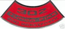 TURBO-FIRE 302/290 HP Decal CHEVROLET CAMARO CHEVELLE