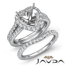 Heart Halo Diamond Semi Mount Engagement Ring Bridal Set 14k Gold White 1.80 ct.