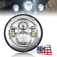 "Chrome 7"" Led Hi/Lo Beam Headlight For Harley Davidson Street Glide Softail FLHX"