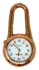 Entino Rose Gold Clip on Carabiner White Face FOB Watch For Nurses Doctors Chefs