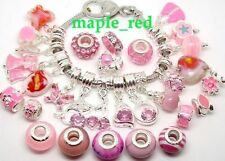 20pcs Fashion mixed PINK Beads Charms Fit European Bracelet DIY Jewellery Gift