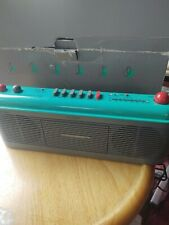 New listing Sharp Qt-F40 green 1980s Retro Radio Cassette Boombox Qt-F40(Gr) - Works!