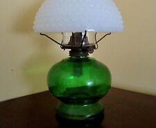 Green Emerald Oil Lamp, Milk Glass Hobnail Shade, Eagle Burner, NICE, Depression
