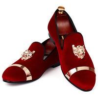 Velvet Loafers Mens Slip On Wedding Shoes Faux Suede Metal Decor Casual Shoes sz