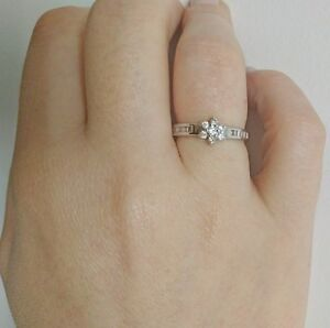 Brand New 18ct White Gold Engagement Ring Cluster 0.33ct, Baguette and Brilliant