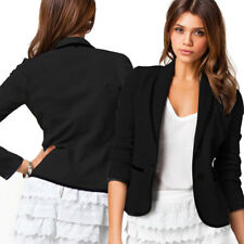 Fashion Casual Slim Solid Suit Blazer Coat Jacket Outwear Women Black Gray Color