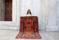 "Antique Handmade Vintage Caucasian Kazakh Tribal Carpet Area Rug 6'9"" x 4'5"""