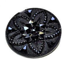 Beau bouton ancien en verre ou jais noir 27mm éclat sur bord button
