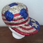 Sequin Hat USA FLAG Ball Cap Stars Stripes Patriotic AMERICA 4th of JULY One Sz