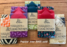 Beeswax Food Wraps | 5 PACK | 1 GIANT, 2 LARGE & 2 MEDIUM | AUSTRALIAN MADE
