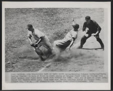 1949 Original BB Wire Photo - Rackley Safe As Pafko Drops Ball (Dodgers vs Cubs)