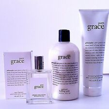 PHILOSOPHY PURE GRACE EDT SPRAY 2 OZ + SHIMMERING LOTION 8OZ+ PERFUMED BUFFING
