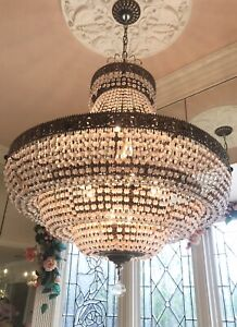 LARGE BEAUTIFUL VINTAGE FRENCH EMPIRE GOLD CRYSTAL CHANDELIER