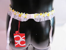 Cotton Club Suspender Belt White With Yellow Flowers Size Large 3820 #22R339