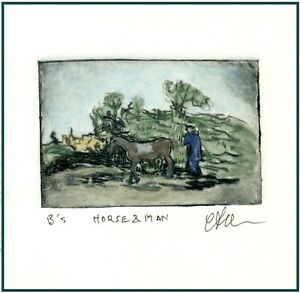 HORSE COUNTRYSIDE Original Watercolor ETCHING miniature signed Art Print