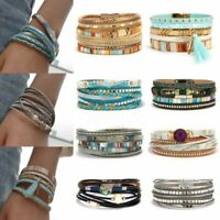 Fashion Women Multi-layer Leather Cuff Magnetic Clasp Bracelet Wristband Jewelry