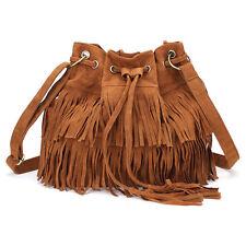Vintage Damen Schultertasche Shoulder Bag Quaste Fransen Tasche Umhängetasche