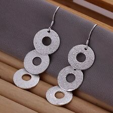 925 GORGEOUS TRIPLE CIRCLE STATEMENT EARRINGS XMAS PARTY VALENTINES BALL