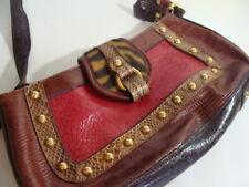 Marc Chantal MC Brown Tooled Leather Embossed Shoulder Bag Handbag Purse Western