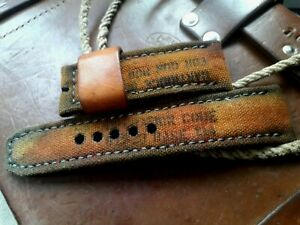 26mm, Canvas and leather, Handmade watch strap, perfect to Panerai, army theme
