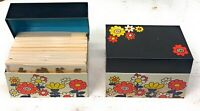 Pair of Vintage Tin Recipe Boxes Full of Collection of 4 Leaf Clovers Shamrocks
