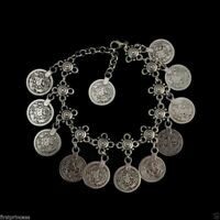 Pulsera tobillera tribal Ankle Coin Chain Ethnic Silver Gipsy Anklet Bracelet