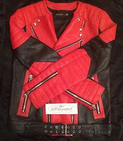 BALMAIN x H&M LEATHER BIKER JACKET RED Sz 36R 38R 40R 42R Black Mens Rare 2015