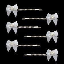 6 épingles pinces plates cheveux mariage mariée petit noeuds satinés blanc satin