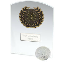 OC101BT JADE AND CRYSTAL GOLF TROPHY 15.25CM  FREE ENGRAVING
