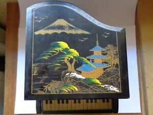 VINTAGE Japanese  Jewellery Black Lacquer GRAND PIANO  Music Box * Marked FOREIG