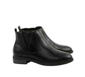 Womens Black Boots Size 4 Extra Wide Fit Chelsea Low Heel Ankle Evans RRP £45