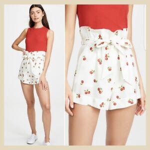 NWT Farm Rio Pitanga Cherry Print Linen Paper Bag Style Shorts XS