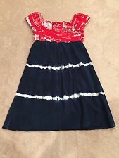 FLOWERS BY ZOE  Blue White And Red Tie Dyed Smocked Dress/Top Size 4T *EUC*