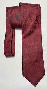 "CANALI RED TIE 100% SILK PAISLEY 60""/4"" GOOD CONDITION"