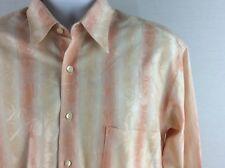 Burma Bibas Men's Shirt Long Sleeve Button Front Stripped Floral Pattern Medium