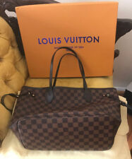Authentic/Louis--Vuitton/Neverfull MM Damier Ebene Tote With Pouch Handbag