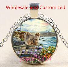 Yorkshire Terrier Cabochon Tibetan silver Glass Chain Pendant Necklace #4856