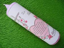 Taufkerze Mädchen Spruch Herz rosa