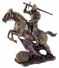 """11"""" Medieval Knight on Horse Charging in Battle Collectible Statue Figurine"""