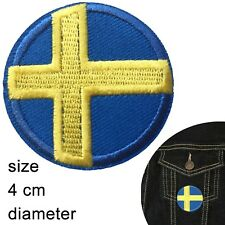 Sweden flag iron on patch - round Swedish flags nordic cross iron-on patches